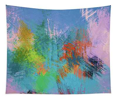 Abstract In Shades Of Blue And Yellow - Dwp6004972 Tapestry