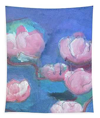 Abstract Pink Flowers Tapestry