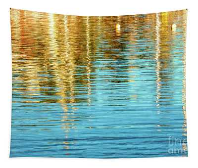 Abstract Reflections In Camden Harbor Maine Tapestry