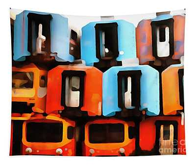 Abandoned Car Digital Art Wall Tapestries