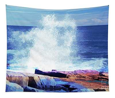 Crashing Waves At Schoodic Point Abstract Tapestry