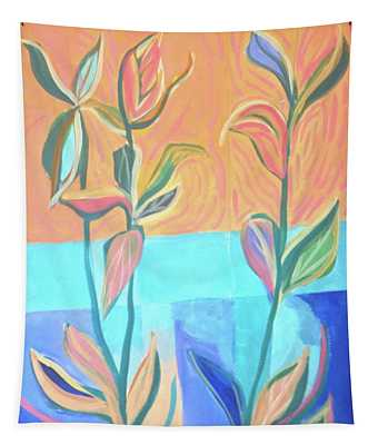 Abstract With Leaves Tapestry