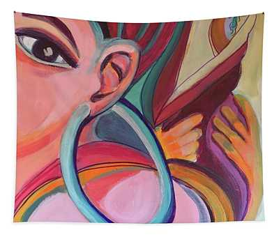 Abstract Woman With Earring Tapestry