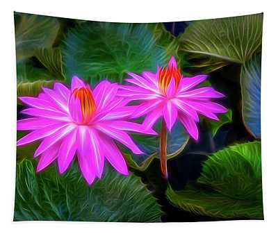 Abstracted Water Lilies Tapestry
