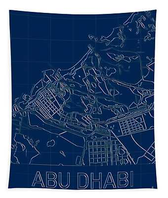 Abu Dhabi Blueprint City Map Tapestry