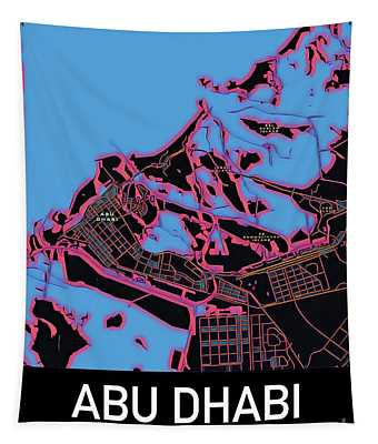 Abu Dhabi City Map Tapestry