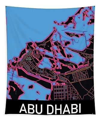 Abu Dhabi City Map Tapestry