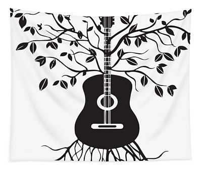 Acoustic Guitar Tree Electric Bass Amp Strings Music Tapestry