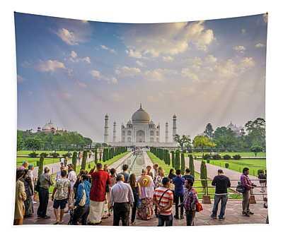 Admiring The Taj Mahal Tapestry