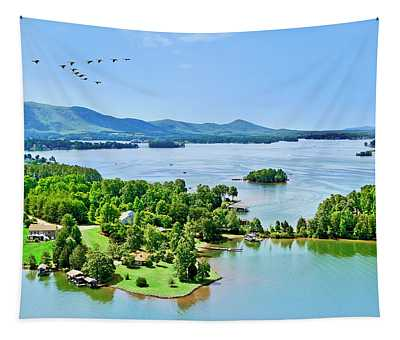Aerial Geese, Smith Mountain Lake Tapestry