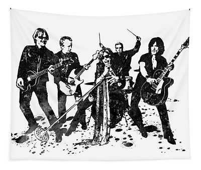 Aerosmith Band Black And White Watercolor 01 Tapestry