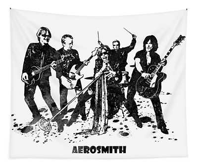 Aerosmith Band Black And White Watercolor 03 Tapestry
