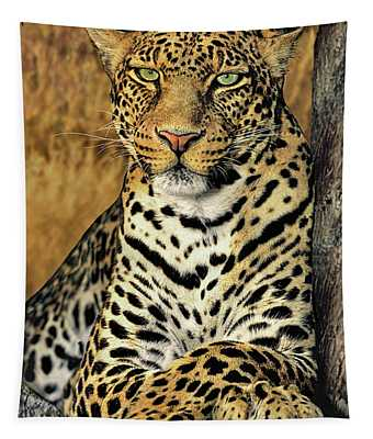 African Leopard Portrait Wildlife Rescue Tapestry