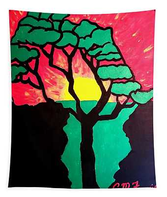 African Sunset  Tapestry
