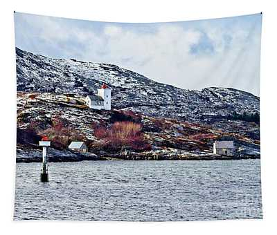Agdenes Lighthouse And Ringflua Light Norway Tapestry