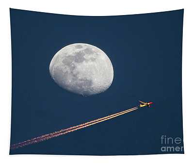 Airliner And Waxing Gibbous Moon Tapestry