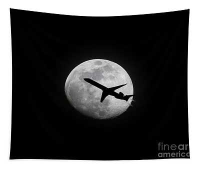 Airliner Passing In Front Of A Full Moon Tapestry