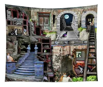 Alley Cat Village Tapestry