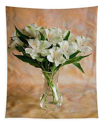 Alstroemeria Bouquet On Canvas Tapestry