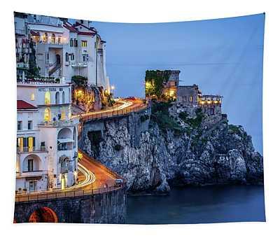 Amalfi Coast Italy Nightlife Tapestry
