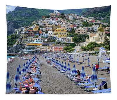 The Colorful Beaches And Village Of Amalfi Italy Tapestry