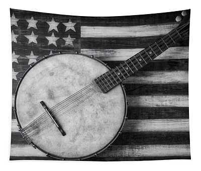 American Banjo Black And White Tapestry