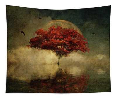 Tapestry featuring the digital art American Oak With Full Moon by Jan Keteleer