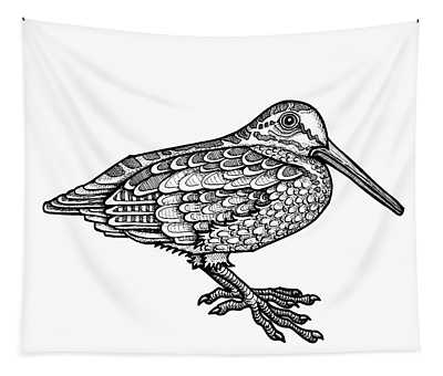 Tapestry featuring the drawing American Woodcock by Amy E Fraser