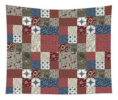 Americana Patchwork Quilt Red White Blue Tapestry