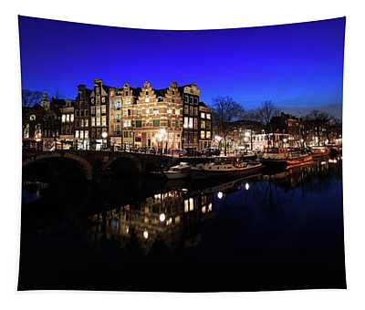 Amsterdam Canal Panorama At Night Tapestry