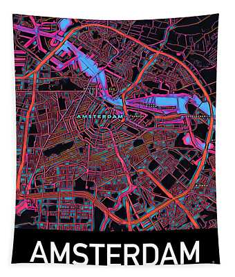 Amsterdam City Map Tapestry