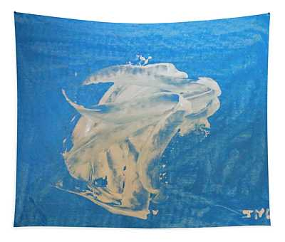 Angel And Dolphin Riding The Waves Tapestry
