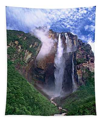 Angel Falls And Ayuan Tepui Canaima National Park Venezuela Tapestry
