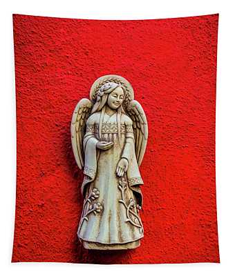 Angel On Red Wall Tapestry