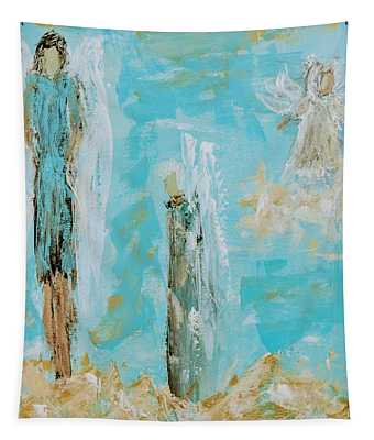Angels Appear On Golden Clouds Tapestry