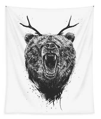 Angry Bear With Antlers Tapestry