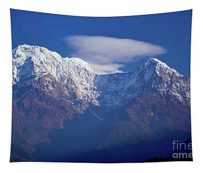 Tapestry featuring the photograph Annapurna South Peak And Pass In The Himalaya Mountains, Annapurna Region, Nepal by Raimond Klavins