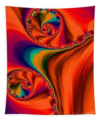Antelope Canyon Orange Shadows Fractal Abstract Tapestry