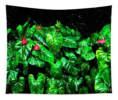 Anthuriums In The Rain Tapestry