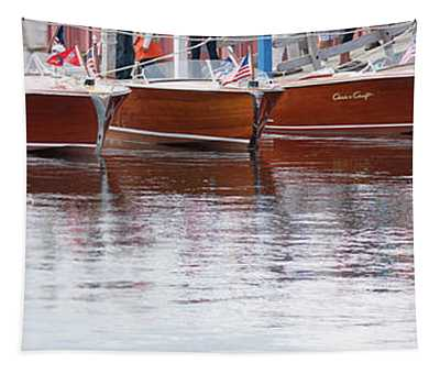 Antique Classic Wooden Boats In A Row Panorama 81112p Tapestry