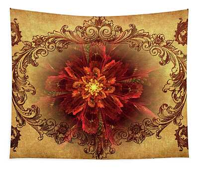 Antique Foral Filigree In Crimson And Gold Tapestry