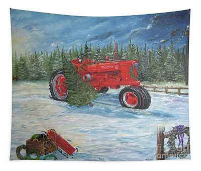 Antique Tractor At The Christmas Tree Farm Tapestry