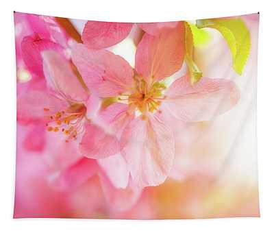 Apple Blossoms Bright Glow Tapestry