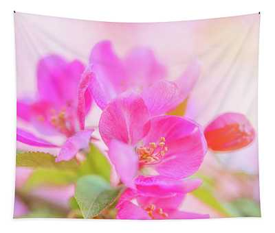 Apple Blossoms Colorful Glow Tapestry