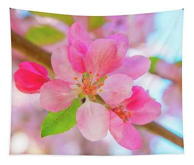 Apple Blossoms Red And Blue Tapestry