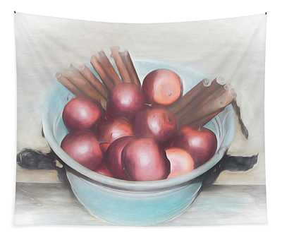 Apples And Cinnamon Sticks Tapestry
