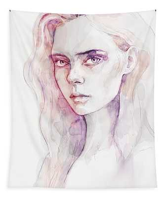 Aquarelle Portrait Of A Girl Tapestry