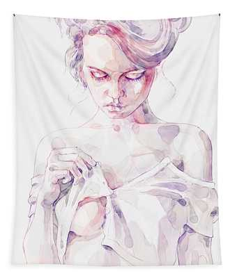 Aquarelle Sensual Portrait Of A Girl Tapestry
