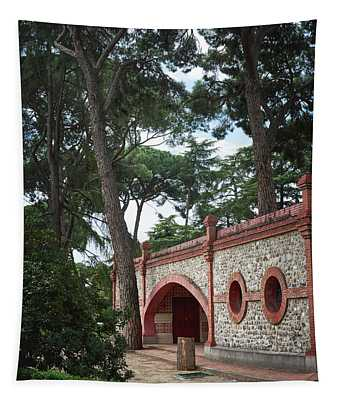 Architecture At The Gardens Of Cecilio Rodriguez In Retiro Park - Madrid, Spain Tapestry