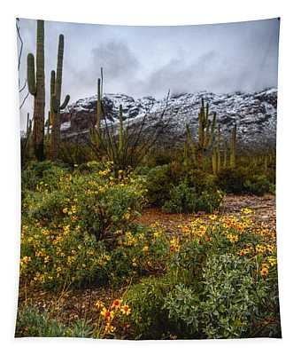 Arizona Flowers And Snow Tapestry